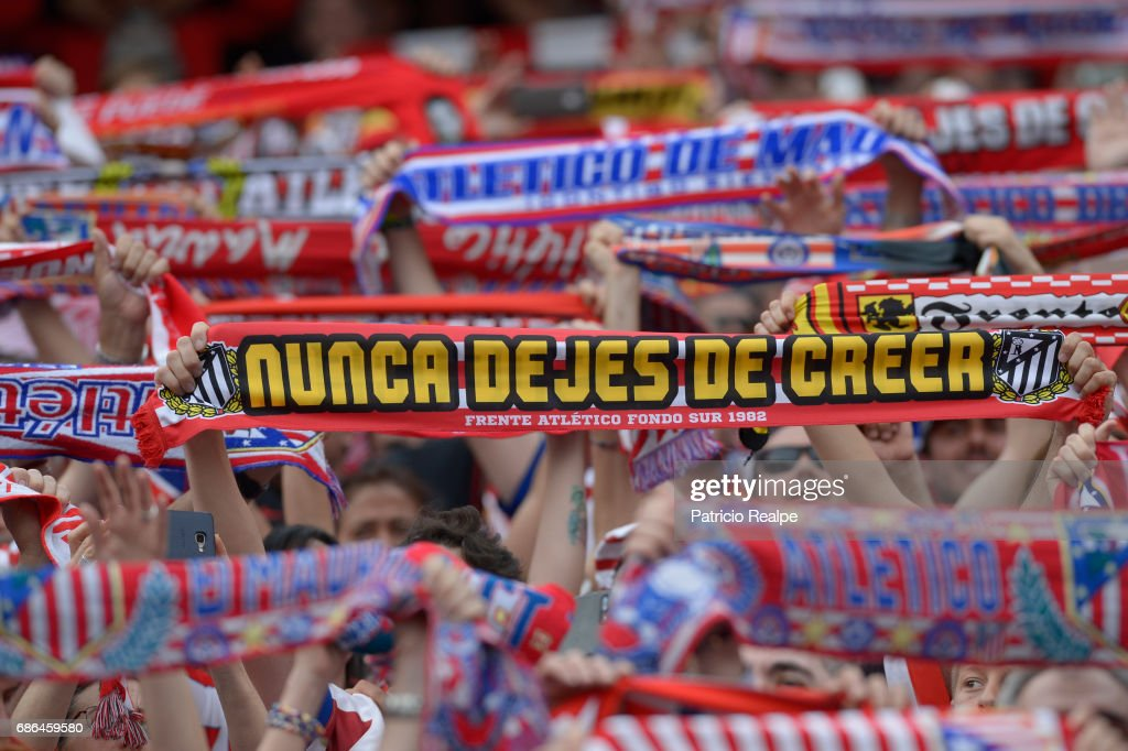 Fans of Atletico de Madrid hold their team's scarfs during the La Liga match between Club Atletico de Madrid and Athletic Club Bilbao at Vicente Calderon stadium on May 21, 2017 in Madrid, Spain.