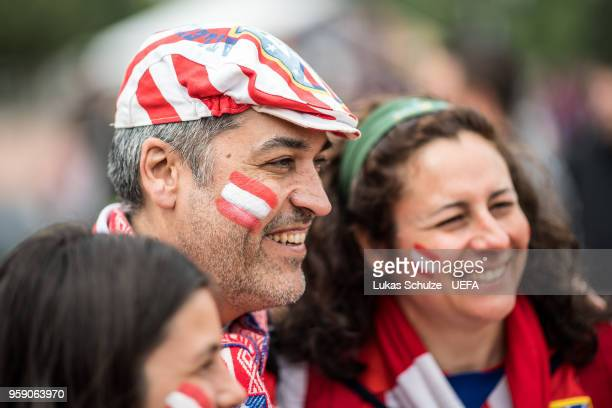 Fans of Atletico de Madrid smile at the Fan Zone ahead of the UEFA Europa League Final between Olympique de Marseille and Club Atletico de Madrid at...