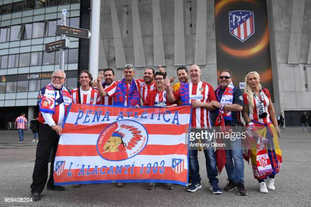 Fans of Atletico Madrid during the Europa League Final match between Marseille and Atletico Madrid at Groupama Stadium on May 16 2018 in Lyon France