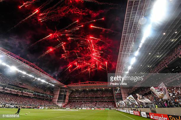 Fans of Atletico MG a match between Atletico MG and Colo Colo as part of Copa Bridgestone Libertadores 2016 at Independencia stadium on March 16 2016...