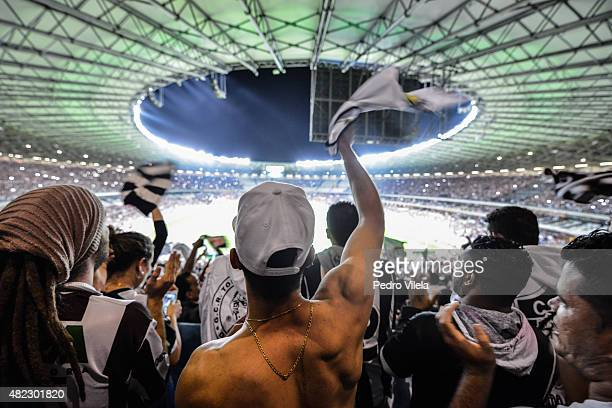 Fans of Atletico MG a match between Atletico MG and Sao Paulo as part of Brasileirao Series A 2015 at Mineirao stadium on July 29 2015 in Belo...
