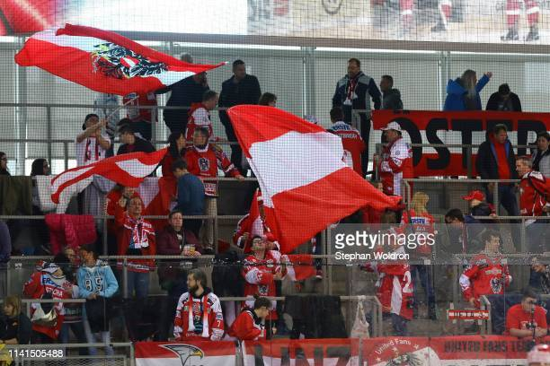 Fans of Austria during the Austria v Denmark - Ice Hockey International Friendly at Erste Bank Arena on May 5, 2019 in Vienna, Austria.