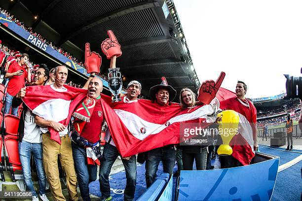 Fans of austria during the UEFA EURO 2016 Group F group stage match between Portugal and Austria at the Stade Parc de Princes on june 18, 2016 in...