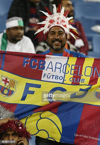 Fans of Barcelona during the Qatar Airways Cup match between FC Barcelona and Al-Ahli Saudi FC on December 13, 2016 in Doha, Qatar.