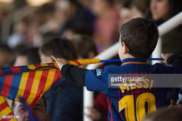 Fans of Barcelona Football Club are seen attending an open public session held at the Barcelona Ministadium on January 5 2018 in Barcelona Spain