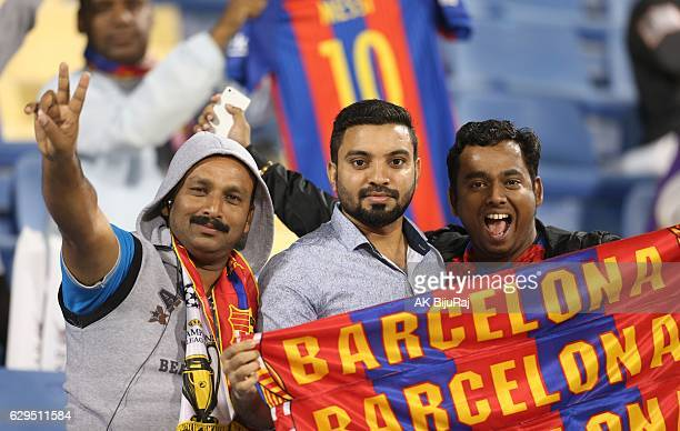 Fans of Barcelona pose during the Qatar Airways Cup match between FC Barcelona and Al-Ahli Saudi FC on December 13, 2016 in Doha, Qatar.
