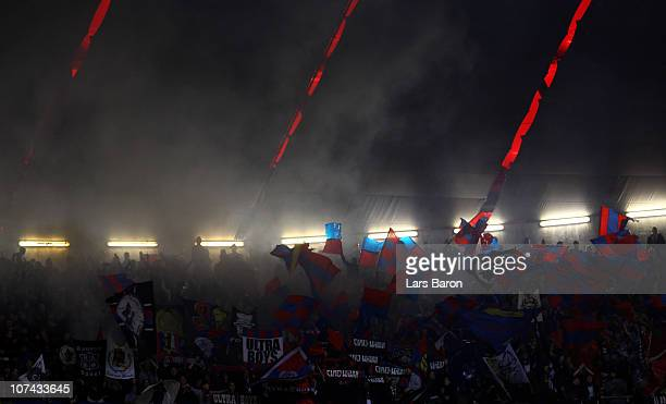 Fans of Basel are seen during the UEFA Champions League group E match between FC Bayern Muenchen and FC Basel at Allianz Arena on December 8 2010 in...