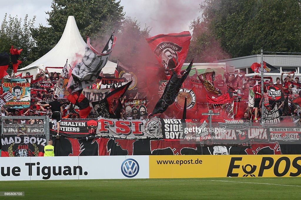 Fans of Bayer Leverkusenn during the DFB Cup match between SC Hauenstein and Bayer 04 Leverkusen at Stadium Husterhoehe on August 19, 2016 in Pirmasens, Germany.