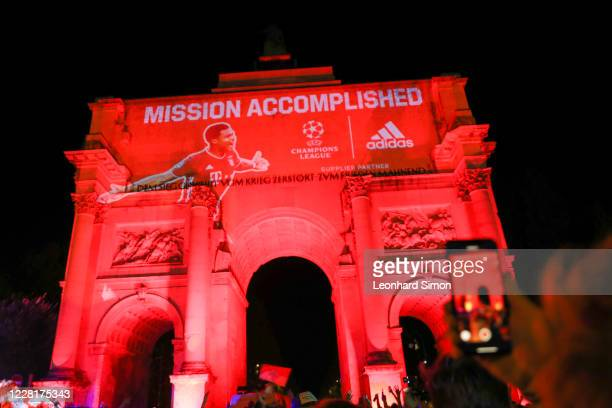 Fans of Bayern Muenchen celebrate FC Bayern Munich's victory of the UEFA Champions League Final 2020 between Paris Saint-Germain and FC Bayern...