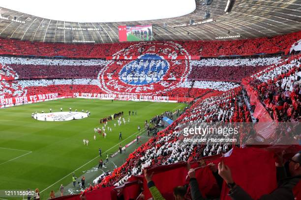 Fans of Bayern Munich display a tifo prior to the Bundesliga match between FC Bayern Muenchen and FC Augsburg at Allianz Arena on March 08 2020 in...