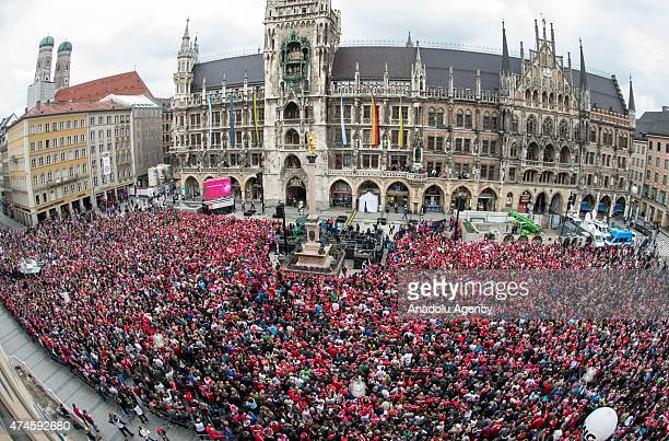 Fans of Bayern Munich prepare to celebrate the men's 25th BundesligaChampionship and the 2nd women's BundesligaChampionship on Marienplatz in Munich...