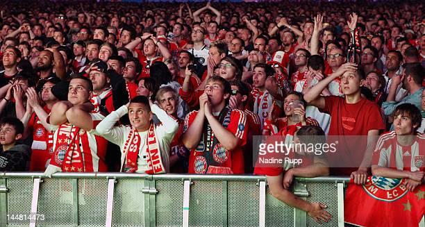 Fans of Bayern react during public viewing FC Bayern Muenchen v Chelsea FC UEFA Champions League Final match at Munich Olympiastadion on May 19 2012...