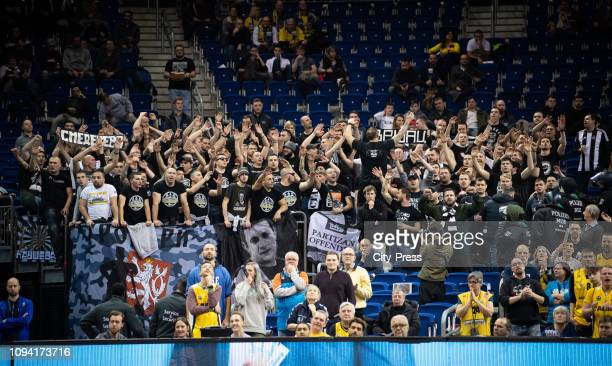 fans of BC Partizan during the EuroCup match between Alba Berlin and BC Partizan at MercedesBenz Arena on February 5 2019 in Berlin Germany