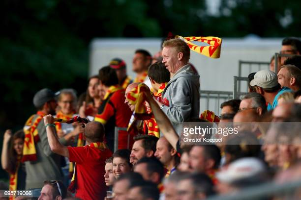 Fans of Belgium celebrate of during the Women's International Friendly match between Belgium and Japan at Stadium Den Dreef on June 13 2017 in Leuven...