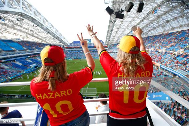 Fans of Belgium enjoy the prematch atmosphere ahead of the 2018 FIFA World Cup Russia group G match between Belgium and Panama at Fisht Stadium on...