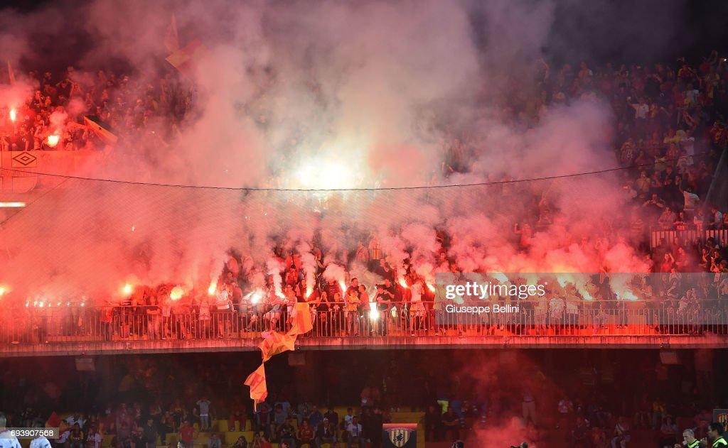 Fans of Benevento Calcio during the Serie B Play off Final match between Benevento Calcio and Carpi FC at Stadio Ciro Vigorito on June 8, 2017 in Benevento, Italy.