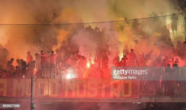 Fans of Benevento Calcio during the Serie B Play off Final match between Benevento Calcio and Carpi FC at Stadio Ciro Vigorito on June 8 2017 in...