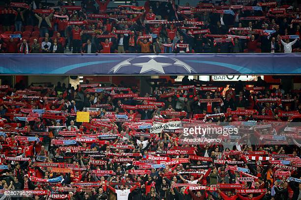 Fans of Benfica are seen during the UEFA Champions League Group B football match between SL Benfica and Napoli at Luz stadium on December 6 in Lisbon...