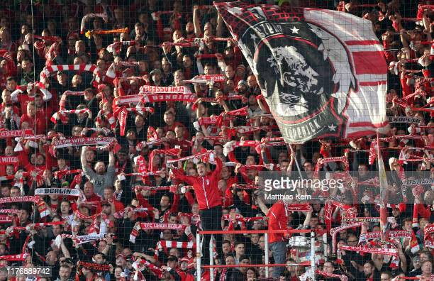 Fans of Berlin are pictured during the Bundesliga match between 1. FC Union Berlin and Sport-Club Freiburg at Stadion An der Alten Foersterei on...