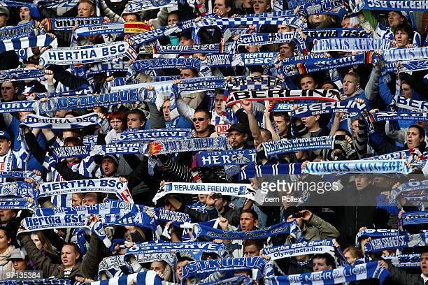 Fans of Berlin are seen prior to the Bundesliga match between Hertha BSC Berlin v 1899 Hoffenheim at Olympic Stadium on February 27 2010 in Berlin...