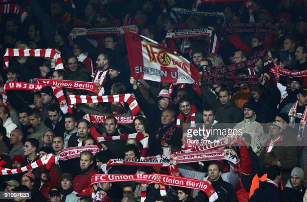 Fans of Berlin attends the Second Bundesliga match between 1 FC Union Berlin and SpVgg Greuther Fuerth at the stadium An der Alten Foersterei on...