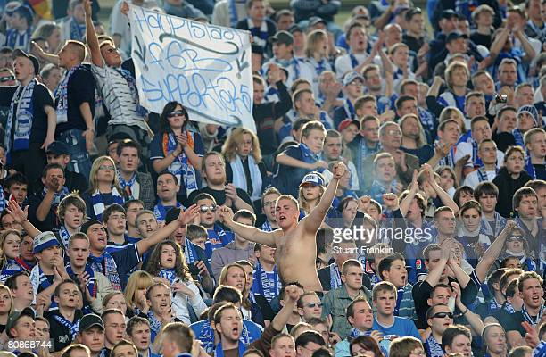 Fans of Berlin during the Bundesliga match between Hannover 96 and Hertha BSC Berlin at the AWD Arena on April 26, 2008 in Hanover, Germany.