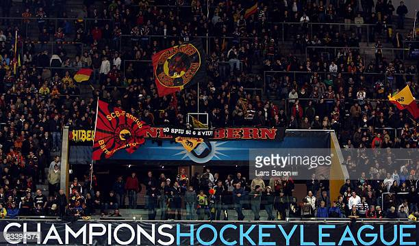 Fans of Bern are seen during the IIHF Champions Hockey League match between SC Bern and Espoo Blues at the PostFinance Arena on October 22 2008 in...