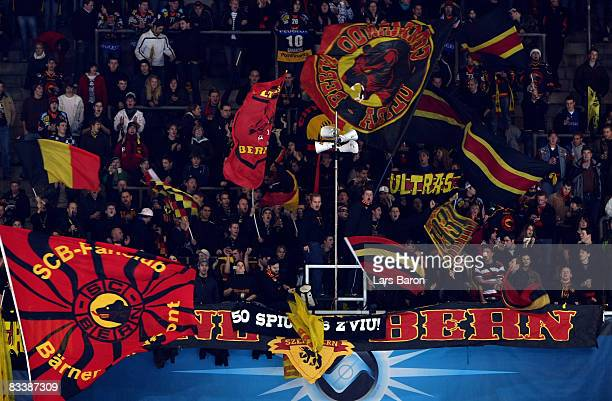 Fans of Berne are seen during the IIHF Champions Hockey League match between SC Bern and Espoo Blues at the PostFinance Arena on October 22, 2008 in...