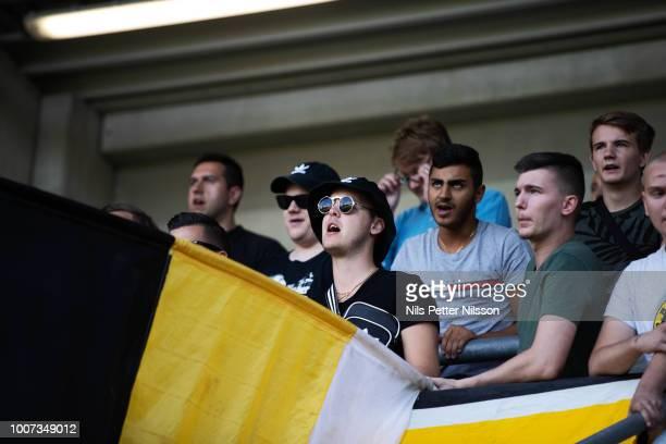 Fans of BK Hacken during the Allsvenskan match between BK Hacken and Orebro SK at Bravida Arena on July 29, 2018 in Gothenburg, Sweden.