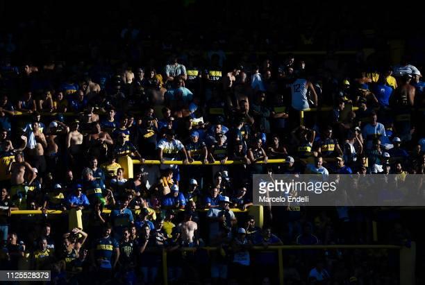 Fans of Boca Juniors cheer for their team before a match between Boca Juniors and Lanus as part of Superliga 2018/19 at Estadio Alberto J Armando on...