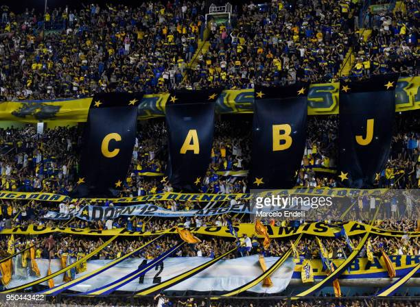 Fans of Boca Juniors cheer for their team before a match between Boca Juniors and Newell's Old Boys as part of Argentine Superliga 2017/18 at Alberto...