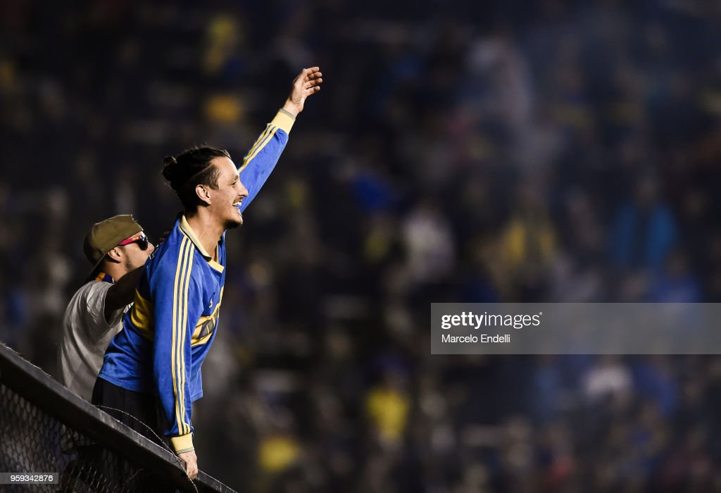 Fans of Boca Juniors cheer their team after winning a match between Boca Juniors and Alianza Lima at Alberto J. Armando Stadium on May 16, 2018 in La Boca, Argentina.