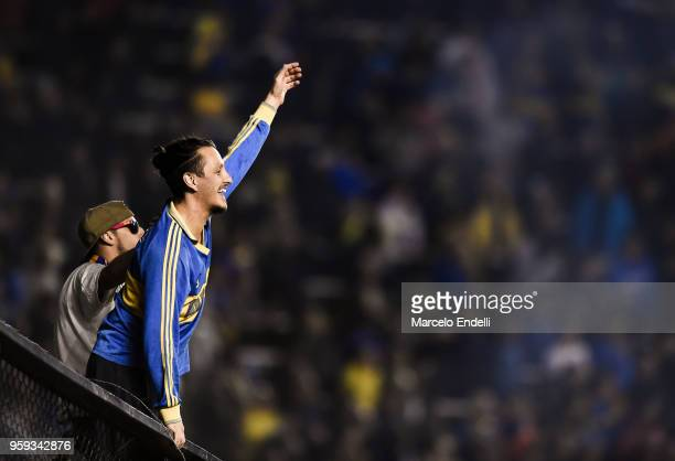 Fans of Boca Juniors cheer their team after winning a match between Boca Juniors and Alianza Lima at Alberto J Armando Stadium on May 16 2018 in La...