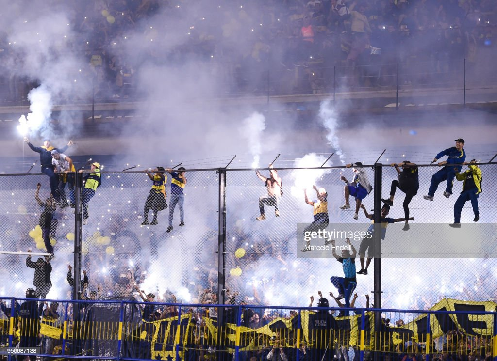 Fans of Boca Juniors cheer their team during the celebration event after winning the Argentina Superliga 2017/18 at Estadio Alberto J. Armando on May 9, 2018 in La Boca, Argentina. Boca Juniors fans could not attend the game against Gimnasia y Esgrima La Plata as no away fans are allowed in Argentina.