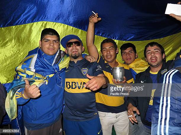 Fans of Boca Juniors posing for a photo Thousands Boca Juniors fans gather at the obelisk central point in Buenos Aires to celebrate the championship...