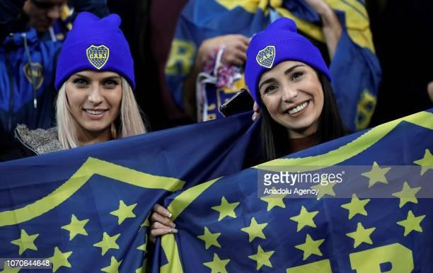Fans of Boca Juniors show their support ahead of the second leg of the final match of Copa Libertadores soccer match between River Plate vs Boca...