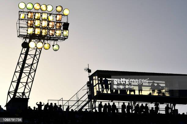 Fans of Boca Juniors watch the match between Boca Juniors and Godoy Cruz as part of Superliga 2018/19 at Estadio Alberto J Armando on February 3 2019...