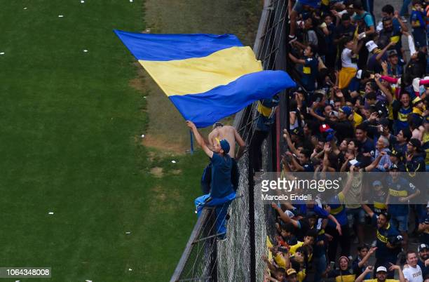 A fans of Boca Juniors waves his team's flab during an open training session ahead of the final match of Copa CONMEBOL Libertadores 2018 at Estadio...