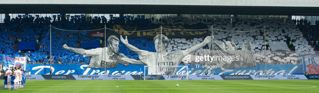 Fans of Bochum show a choreo during the Second Bundesliga match between VfL Bochum 1848 and FC Ingolstadt 04 at Vonovia Ruhrstadion on September 24, 2017 in Bochum, Germany.