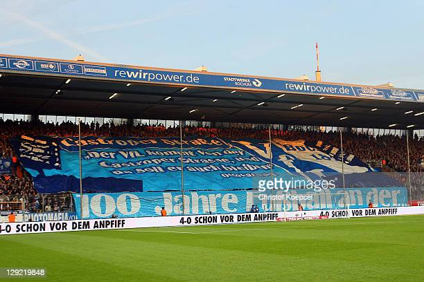 Fans of Bochum show a choreography during the Second Bundesliga match between VfL Bochum and Eintracht Frankfurt at Rewirpower stadium on October 14,...
