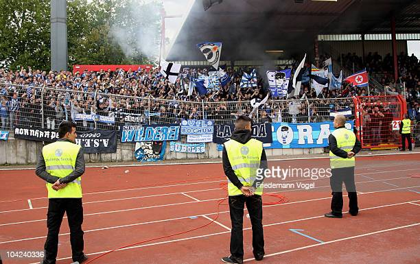 Fans of Bochumwave flags during the Second Bundesliga match between RW Oberhausen and VfL Bochum at the Niederrhein Stadium on September 18 2010 in...