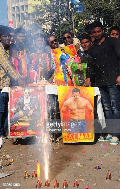 Fans of Bollywood actor Salman Khan celebrating his 50th birthday on December 27 2015 in Bhopal India Bollywood superstar Salman Khan who has many...
