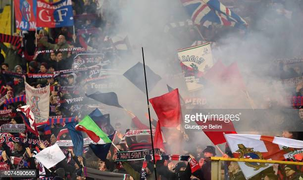 Fans of Bologna FC during the Serie A match between Parma Calcio and Bologna FC at Stadio Ennio Tardini on December 22 2018 in Parma Italy