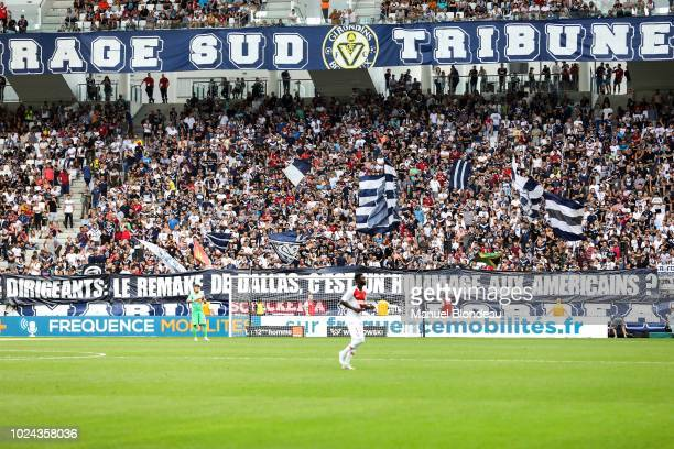 Fans of Bordeaux display a giant banner during Ligue 1 match between Bordeaux and Monaco on August 26 2018 in Bordeaux France