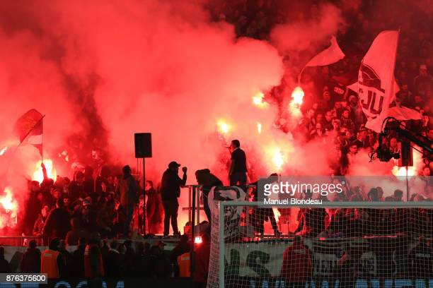 Fans of Bordeaux during the Ligue 1 match between FC Girondins de Bordeaux and Olympique Marseille at Stade Matmut Atlantique on November 19 2017 in...