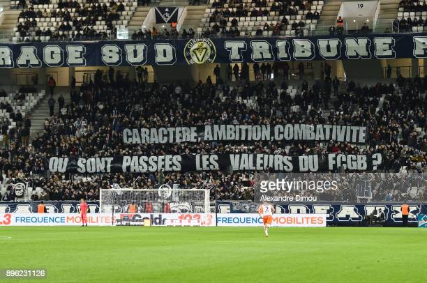 Fans of Bordeaux during the Ligue 1 match between FC Girondins de Bordeaux and Montpellier Herault SC at Stade Matmut Atlantique on December 20 2017...