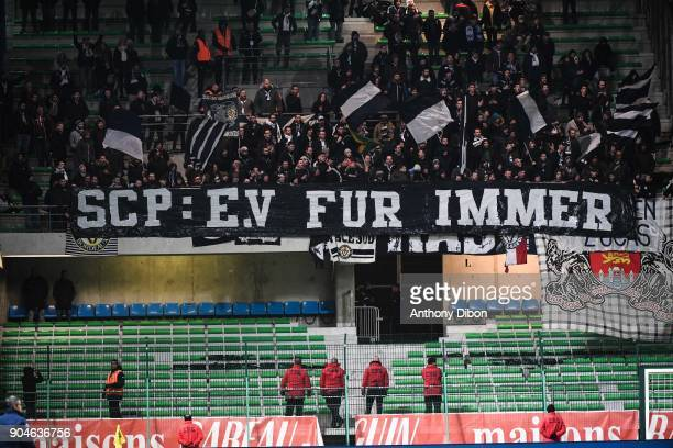 Fans of Bordeaux during the Ligue 1 match between Troyes and Bordeaux on January 13 2018 in Troyes France