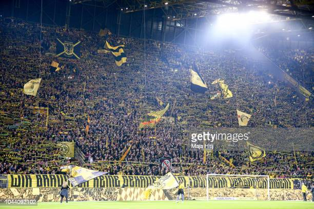Fans of Borussia Dortmund at the Yellow Wall Gelbe Wand during the Bundesliga match between Borussia Dortmund and 1 FC Nuernberg at Signal Iduna Park...