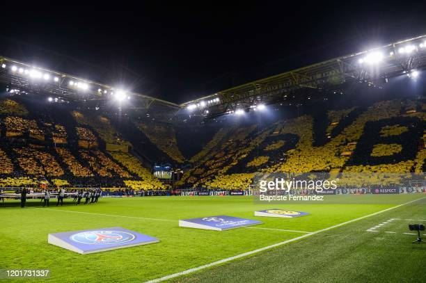 Fans of Borussia Dortmund before the UEFA Champions League round of 16 first leg match between Borussia Dortmund and Paris Saint-Germain on February...