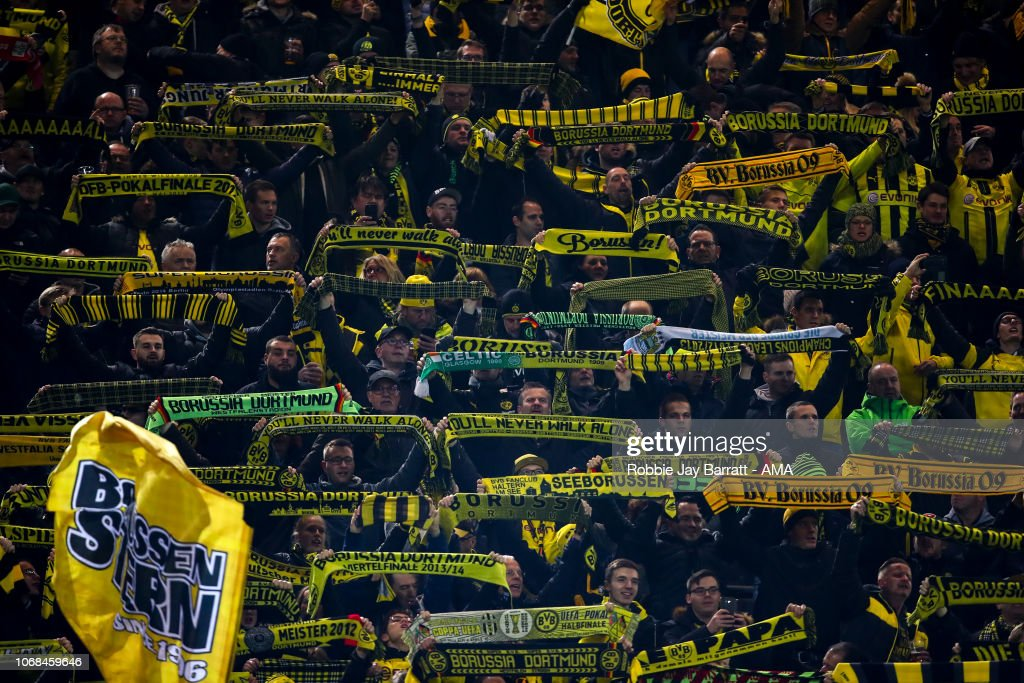 Fans Of Borussia Dortmund Hold Up Scarves In The Yellow Wall During News Photo Getty Images